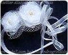 Tiara em setim com flores de organza cristal e fitas de organza.  www.alessandragrinaldas.elo7.com.br