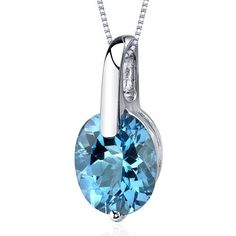 Women's Sterling Silver Oval Swiss Blue Topaz Solitaire Pendant Necklace  | eBay