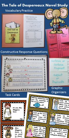 The Tale of Despereaux Notebook & Activity Unit contains graphic organizers for an interactive notebook and game activities covering vocabulary, constructive response writing, and skill practice. $