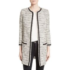 Women's Helene Berman Longline Tweed Jacket (¥38,745) ❤ liked on Polyvore featuring outerwear, jackets, helene berman, white tweed jacket, long line jacket, white jacket and longline jacket