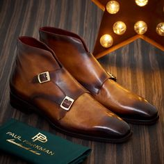 Paul Parkman Double Monkstrap Boots Brown (ID Mens Designer Boots, Double Monk Strap Shoes, Derby Shoes, Kinds Of Shoes, Dress With Boots, Shoe Collection, Brown Boots, Me Too Shoes, Leather Boots