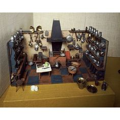 Model kitchen built around 1800, a popular gift for young girls.  Do you recognize anything from our historic kitchens?
