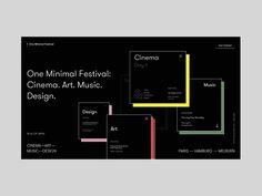 One Minimal Festival Homepage Alternative Version designed by Zhenya Rynzhuk for Sochnik. Connect with them on Dribbble; Landing Page Inspiration, Ui Design Inspiration, Interface Web, User Interface Design, Best Ui Design, Page Design, Design Layouts, Design Web, Web Design Black