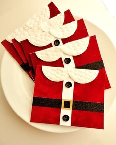 Red Velvet Santa Cards, Merry Christmas Stamp Embossed Cards Set, Handmade Cute Holiday Cards, Fun, Fabric Suit Cards