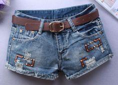 Sexy Hip Hop Rebite Couro Patch Ripped Shorts Hot 2017 Calções de Verão Mulheres Clube Shorts Jeans Do Vintage
