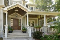 Ranch addition ideas: house plans with front porches ranch porch ideas desi Patio Interior, Interior Exterior, Exterior Design, Exterior Doors, Gray Exterior, Exterior Paint, Entry Doors, Wood Doors, Front Porch Seating