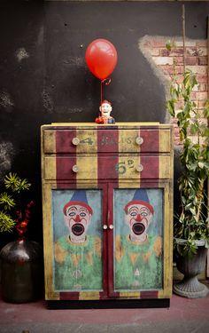 Creepy clown painted in Annie Sloan Antibes Green, Creepy Clown, Paris Grey, Cupboard Storage, Design Furniture, Painting Cabinets, Annie Sloan, Antique Furniture, Shelving