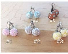 Floral stud dangle earrings polymer clay by LiliandTrotro on Etsy