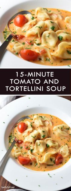 Super easy Tomato and Tortellini Soup thats ready in only 15 minutes! Such a lifesaver during those busy weeknights and holiday time!