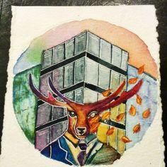 """Ayelen Tossi en Instagram: """"Los ciervos pardos de la montaña son muchos, La montaña es una sola; Los ciervos se desvanecen, la montaña queda en su lugar #deer #watercolor #watercolorpainting #illustration #painting #buenosaires #acuarelas #color"""""""