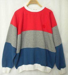 VTG 80s Woodwards Athletic Gear Mens XLarge  Red Gray Blue Striped Sweatshirt