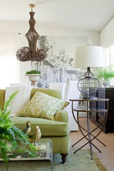 Planting elements from the outdoors on your walls, furniture and more can yield a breezy spring feel in your home