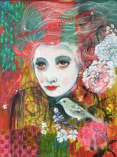 """Maria Pace-Wyntners  - """"I Hear The Beat Of Your Heart"""" 12″x16″ mixed media on wood panel."""