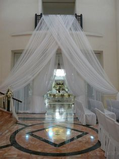 """Wedding drape panel 12' long by 116"""" wide each, white, ivory or pink, your choice, price is for each individual panel."""