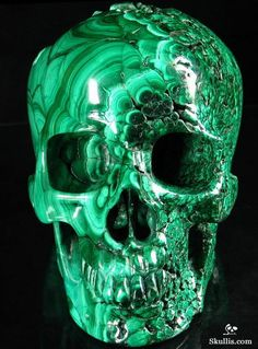 Malachite Carved Crystal Skull. Reminds me of snow white!