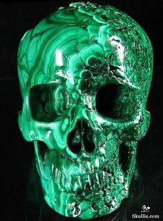 Malachite Carved Crystal Skull