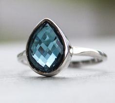 Silver London Blue Topaz Gemstone Ring  by OhKuol