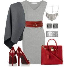 Gray & red ♥♥♥, www.lolomoda.com