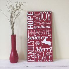Christmas Wooden Wall Art, Typography Word Art Collage, Red and White Christmas Decor