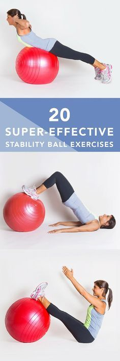 Stability balls (also called exercise balls balance balls Swiss balls or fitness balls) are more than just fun to sit and bounce ontheyre a great way to improve strength cardio endurance and balance fitness motivation Fitness Workouts, At Home Workouts, Fitness Tips, Fitness Motivation, Health Fitness, Fitness Ball Exercises, Fun Exercises, Bike Workouts, Swimming Workouts