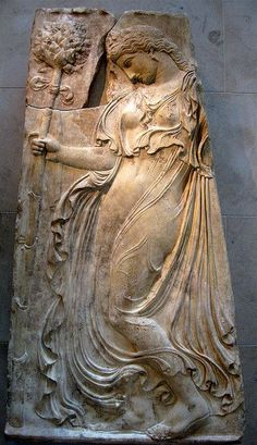 "In Greek mythology, maenads were the female followers of Dionysus, and the most significant members of the Thiasus, the god's retinue. Their name literally translates as ""raving ones"". Often the maenads were portrayed as inspired by Dionysus into a state of ecstatic frenzy, through a combination of dancing and intoxication. During these rites, the maenads would dress in fawn skins and carry a thyrsus, a long stick wrapped in ivy or vine leaves and tipped with a pinecone."
