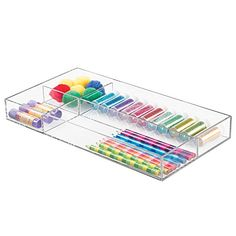 "News mDesign Art Supplies, Crafts, Crayons and Sewing Drawer Organizer - 8"" x 16"" x 2"", Clear   buy now     $11.95 This Art/Crafts/Sewing Supplies Organizer is the perfect way to keep scissors, crayons, colored pencils, markers, glue, thread... http://showbizlikes.com/mdesign-art-supplies-crafts-crayons-and-sewing-drawer-organizer-8-x-16-x-2-clear/"