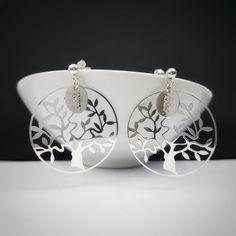 Boucles d/'oreilles pendantes en argent sterling 925 Arbre de vie