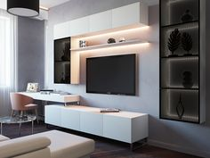 Trendy home office planejado masculino Ideas Dark Living Rooms, Desk In Living Room, Living Room Shelves, Living Room Modern, Living Room Interior, Home Room Design, Home Office Design, Home Interior Design, Living Room Tv Unit Designs