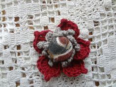 Fabric Covered Button and Crochet Brooch  dark red by sewella, $7.00