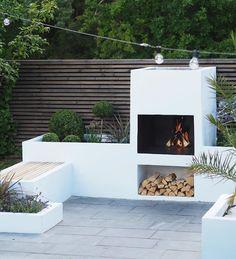 Outdoor Fireplace Designs, Backyard Fireplace, Modern Outdoor Fireplace, Back Garden Design, Vegetable Garden Design, Backyard Patio Designs, Backyard Landscaping, Outdoor Kitchen Design, Outdoor Living
