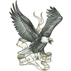 Flying Eagle Tattoo Design With Banner Wings Of Eagles                                                                                                                                                                                 More