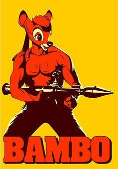 Illustration Bambi / Rambo (source unknown)