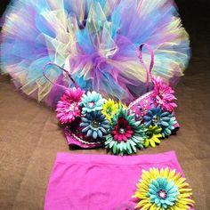 Hippie Dance EDC music festival Rave Raver daisy & rhinestone costume Paradiso EDM Bra Outfit
