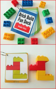 Brick Build Fun Deck -DIGITAL DOWNLOAD - Lego Duplo size - Brick Build Fun Decks are a great extension activity for your duplo lego or megablok mini collection! This fun deck can be used at home or on-the-go. It's great for quiet time, busy bags, waiting rooms, car trips, PARTY FAVORS, and more! Encourages color recognition, pattern recognition and more! #ad