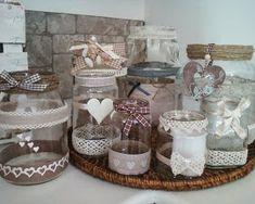 lo shabby di Mila: Barattoli shabby Shabby Chic Jars, Shabby Chic Style, Shabby Chic Decor, Tin Can Crafts, Easy Crafts, Diy And Crafts, Mason Jar Crafts, Mason Jar Diy, Decorated Jars