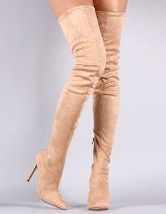 Stivali sexy sopra al ginoccio a punta con tacchi alti in suede elastico per donne