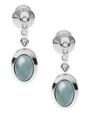 Boucles d'oreilles en acier inoxydable avec verre marin bleu  Pendants d'oreille argentés