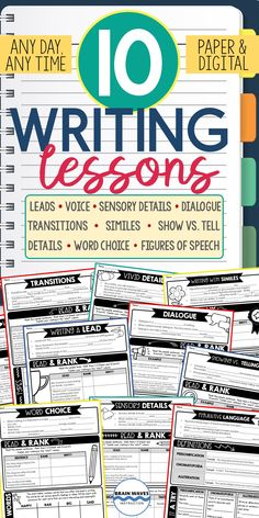 This set of 10 writing lessons is perfect to add to an existing writing unit or to teach targeted skills throughout the year. Each are designed to be quick and engaging. They can be taught in succession as a single writing unit or you can pick and choose lessons to teach at different points throughout the school year. These lessons can be easily incorporated into writing workshop, writing units, writing centers, or your everyday writing instruction. Sensory Details, Writing Centers, Figure Of Speech, Brain Waves, Writing Lessons, Writer Workshop, Creative Teaching, Learning Activities, Special Education
