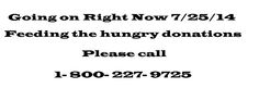 This is a number U can call to make food donations that will help the hunger in NC right now 7/25/14. Please help if U feel this is how U can. Please keep in mind the food banks in your own area need U!!!!