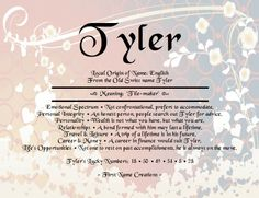 Tyler name and meaning Tyler Name, Old English Names, Name Quotes, Personal Integrity, Gender Neutral Names, Mommy Loves You, Hebrew Names, Name Games, What Is Your Name