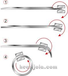 How to make a silver mand heARTJÓIA.com Jewellery making step by step - http://heartjoia.com/categoria-produto/manuais - Anello