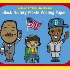 Here's a set of Black History Month writing papers that your students can use for research and writing about famous African Americans! Set includes 8 pages featuring Martin Luther King Jr., Thurgood Marshall, Barack Obama, Jackie Robinson, Ruby Bridges, Harriet Tubman, Rosa Parks and Frederick Douglass.Check out all my BLACK HISTORY MONTH activities:Black History Month PowerPoint Bundle Black History Month Cube Craft   Visit and follow  GREEN APPLE LESSONS for more great resources!
