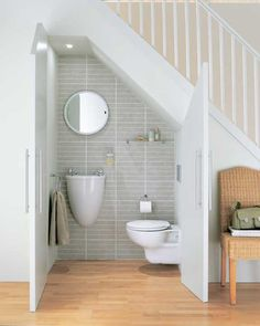 downstairs toilet and storage under stairs Tiny Bathrooms, Tiny House Bathroom, Bathroom Design Small, Bathroom Interior Design, Small Attic Bathroom, Interior Design Under Stairs, Small Bathroom Ideas, Bathrooms Suites, Small Toilet Design