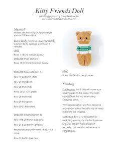 a knit and crochet community Ravelry: Purchase from Store: Esther Braithwaite Designs Knitted Dolls Free, Knitted Doll Patterns, Knitted Bunnies, Knitted Teddy Bear, Knitted Animals, Baby Knitting Patterns, Knitting Stitches, Knitting Yarn, Drops Delight