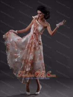One Shoulder Empire Beading Tea-length Prom Dress- $150.89  http://pinterest.com/fashionos/  http://www.youtube.com/user/fashionoscom?feature=mhee  This prom gown dress is so elegant. A diaphanous drape pours down from its single shoulder strap to produce a unique and intoxicating look.Brightly printed fabric and accents encrust the bust,which culminates in a straight neckline. The high waistline segues into a beautifully flowing, floor-brushing skirt.