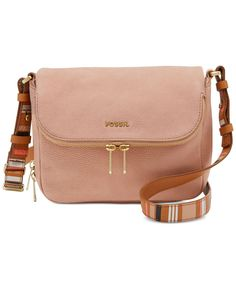 Hit the streets in cool style with Fossil's Preston flap crossbody, featuring an expandable silhouette and custom-fit strap in heritage stripe leather. | Leather; lining: cotton twill | Imported | Sma