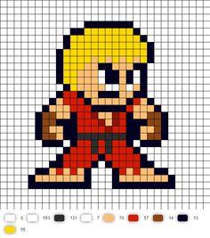 Ken Street Fighter 2 Perler Bead Pattern