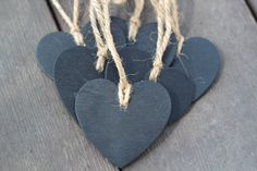 Wooden Heart Chalkboard Tags with Jute Twine - soooo cute!