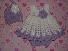 Baby Girl Crochet Dress Set 0  3 months by TJsCrochetCreations