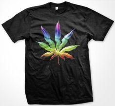 Amazon.com: Psychedelic Rainbow Pot Leaf Mens T-shirt, Funny Trendy Hot Weed Smoking Mens Shirt: Clothing